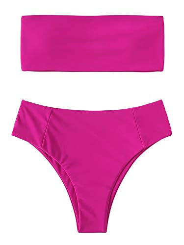 SweatyRocks Women's Sexy Bandeau Bikini Set High Waist Solid Color Two Piece Bathing Set Hot Pink L