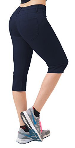 Women's Butt Lift Super Comfy Stretch Denim Capri Jeans Q43308 Navy 11