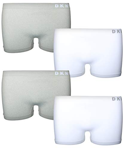 DKNY Girl\'s Nylon/Spandex Seamless Boyshort Hipster Panties (4 Pack) (Medium / 8-10, White/Heather Grey)'