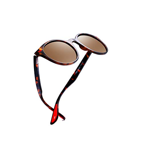 Kimorn Polarized Sunglasses Unisex Oval Frame Classic Red Rubber Temple K0625 (Tortoise&Brown)