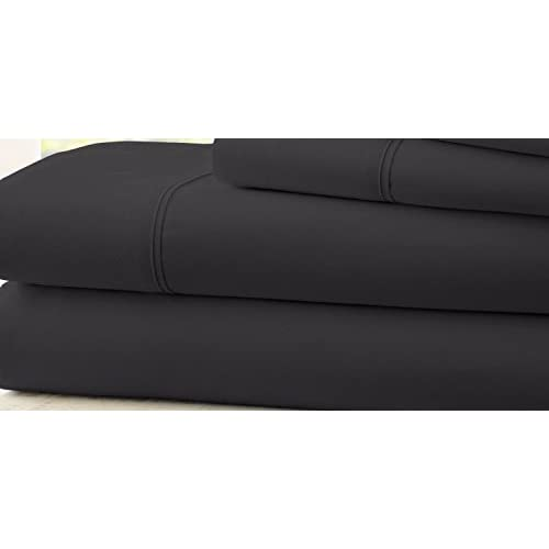 Hotel Quality Ultra Soft Deep Pocket 4 Piece Bed Sheet Set Black Twin outlet