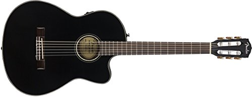 Fender CN-140SCE Nylon String Acoustic-Electric Guitar with Case – Concert Body Style – Black (962714206)