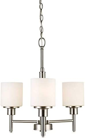 Design House 556647 Aubrey Transitional 3-Light Indoor Chandelier Dimmable Frosted Glass for Entryway Dining Room Foyer, Satin Nickel