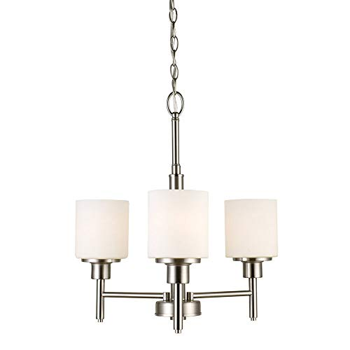 Design House 556647 Aubrey 3-Light Chandelier with Frosted Glass, Satin Nickel