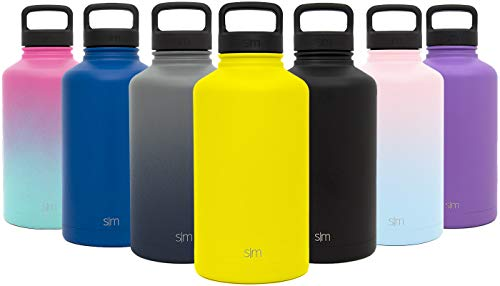 Simple Modern 40 oz Summit Water Bottle - Stainless Steel Liter Flask +2 Lids - Wide Mouth Double Wall Vacuum Insulated Yellow Leakproof Thermos -