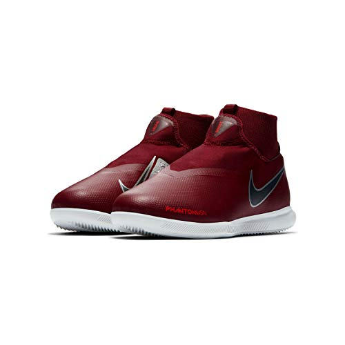 Nike Kid's Phantom Vision Academy Dynamic Fit Indoor Soccer Shoes (Red/Silver, 3 M - Shoes Soccer Nike Indoor Girls