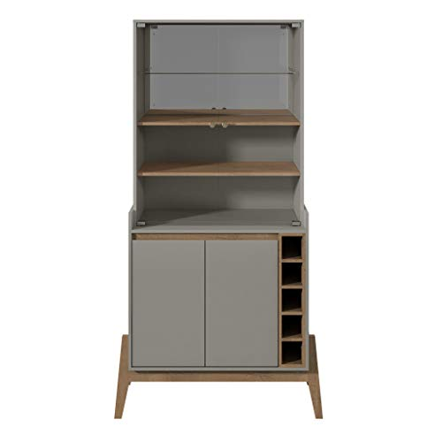 Manhattan Comfort 350925 Essence Tall Mid-Century Modern Buffet and Wine Cabinet, Grey ()