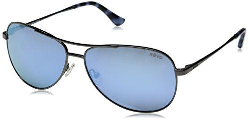Revo Sunglasses Revo Unisex RE 1014 Relay Aviator Polarized UV Protection Sunglasses, Gun Frame, Blue Water ()