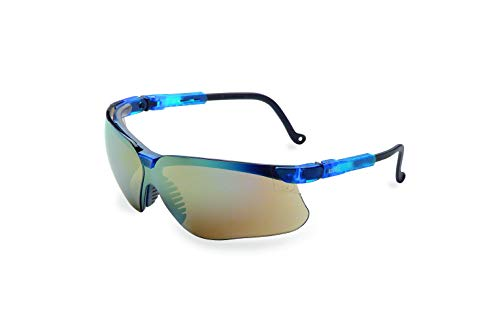 Uvex by Honeywell Genesis Safety Glasses, Vapor Blue Frame with Gold Mirror Lens & Ultra-Dura Anti-Scratch Hardcoat (S3243)