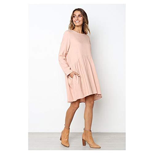 Pink and Dress Long Women's Autumn Sleeved Pleated Cotton Round SGJFZD Neck Linen XxTFPqPw