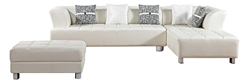 American Eagle Furniture Aventura Collection Modern Bonded Leather Tufted Sectional Sofa With Chaise on Right and Ottoman, -