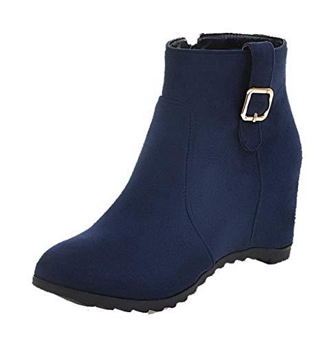 AalarDom Women's Closed-Toe Kitten-Heels Frosted Mid-Calf Solid Boots,