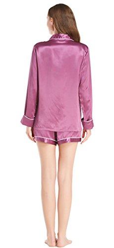 LILYSILK Pijamas Mujer de Seda con Ribete - 100% Seda de Mora de 22MM de Grado 6A - Ropa de Dormir Super Cómodas, Transpirables y Lujosas Violeta
