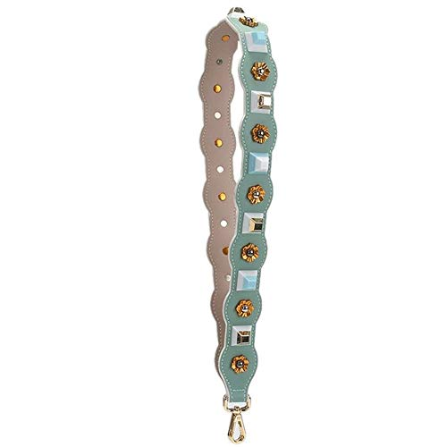 - Irregularity Shape with Rivets Length 90cm Belt PU Leather Strap Women Purse Bag/Handbag Replacement DIY Replacement Purse Straps (Light Green-Type)