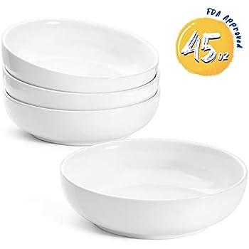 LE TAUCI Pasta Bowls Ceramic Salad Bowl, Large Serving Bowl Set 45 Ounce - Set of 4, White