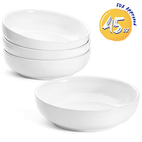 LE TAUCI 8.5 Inch Pasta Bowls Ceramic Salad Bowl, 45 Ounce - Set of 4, White