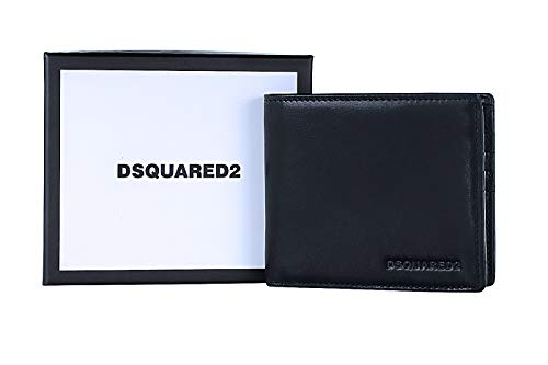DSQUARED2 Men Black Wallet - Bifold Designer Wallets For Men Made In Italy
