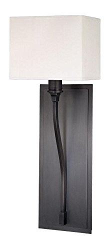 Old Bronze Single Light Up Lighting Wallchiere Sconce with Rectangular Shaped Faux Silk Shade
