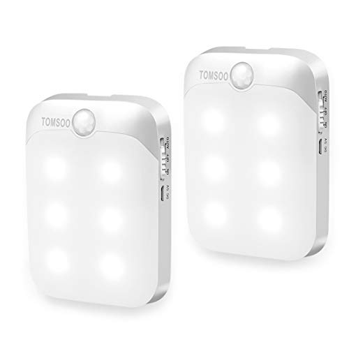 TOMSOO Rechargeable Motion Activated Light, 6 LED Stick-on Anywhere Wireless Smart Security PIR Infrared Motion Sensor Detection Light, Closet Light, Stairs Light for Security Decoration, 2pcs, White by TOMSOO