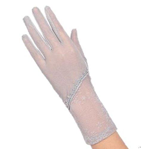 めったに三水星(フミレル) fumirel ショート UV 手袋 フラワー 地模様 滑り止め 付き レディース (グレー)