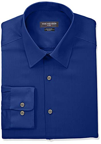 (Van Heusen Men's Dress Shirt Slim Fit Flex Collar Stretch Solid, Royal Blue, 17