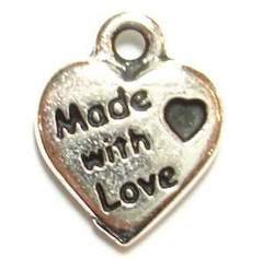 75(pcs) Vintage Antiqued Silver Tone Mini Heart Charm Pendant Stamped MADE WITH LOVE Letter wholesale