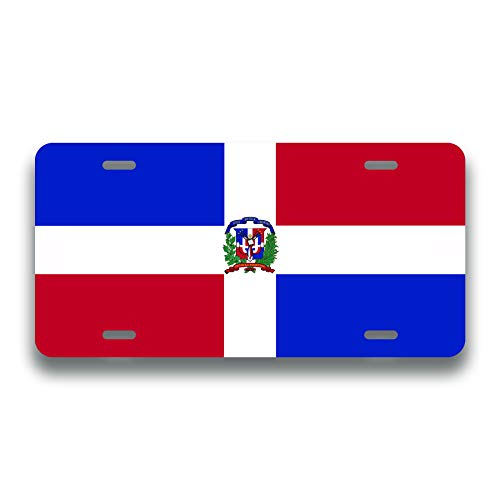 Decals Home Decor & More Dominican Republic Flag License Plate Tag Vanity Novelty Metal | UV Printed Metal | 6-Inches by 12-Inches | Car Truck RV Trailer Wall Shop Man Cave | VLP109