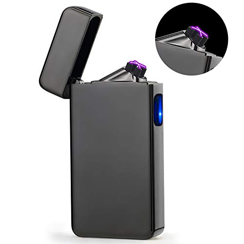 - Dual Arc Plasma Lighter USB Rechargeable Windproof Flameless Butane Free Electric Lighter for Cigar,Candle (Black)