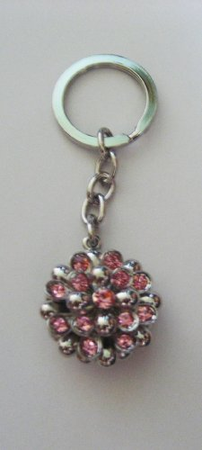 (Dazzling Swarovski Crystal Puff Ball Key Chain with Pink Stones)
