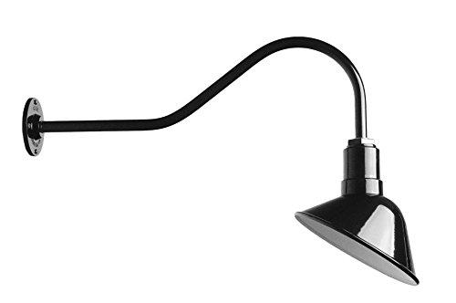 Barn Lighting Angled Reflector and Gooseneck Sign Light - Farmhouse Style Lighting Made in USA - The Venice Steel Light (Black)