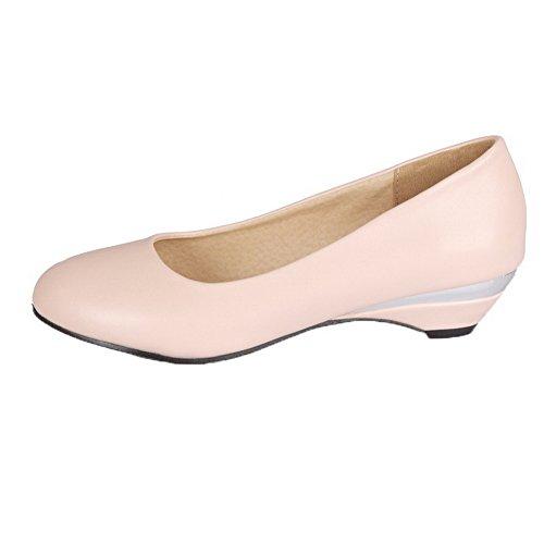 Microfibre Légeres Fermeture Rose Chaussures D'Orteil AgooLar Femme Talon Tire Bas à xwqIHzqP