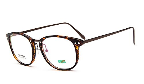 Unisex SLD255 Lightweight TR90 Frame Metal Arm Studded Round Eyeglasses (Leopard, - Replacement Eyeglasses Arms