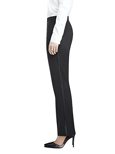 Marlowe Women's Slim Wool Tuxedo Pant with Satin Stripe by Dessy Group - Black - Size 12 by After Six