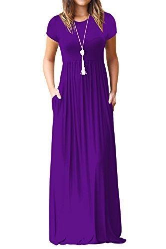 Pockets Purple with Loose ALBIZIA Plain Sleeve Women's Casual dresses Long Maxi long Short gwxq6HP
