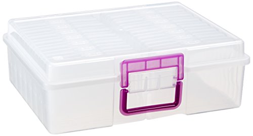 IRIS Extra Large 4'' x 6'' Photo and Embellishment Craft Keeper, Clear with Purple Handle by IRIS USA, Inc.