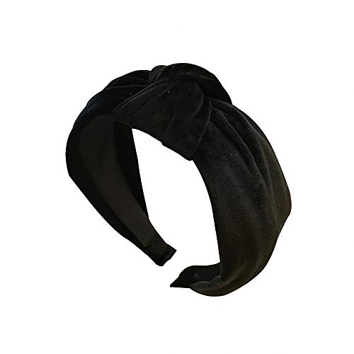 Simple Velvet Cross Hair Hoop Retro Middle Knot Wide Edge Headband (Black)