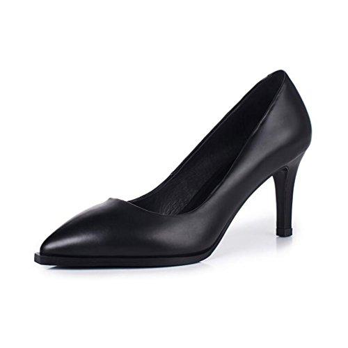 MuMa Court Shoe Ms High-Heeled Shoes Stilettos Wedding Graduation Bridal Shoes 7cm Heel Black 8JnXx