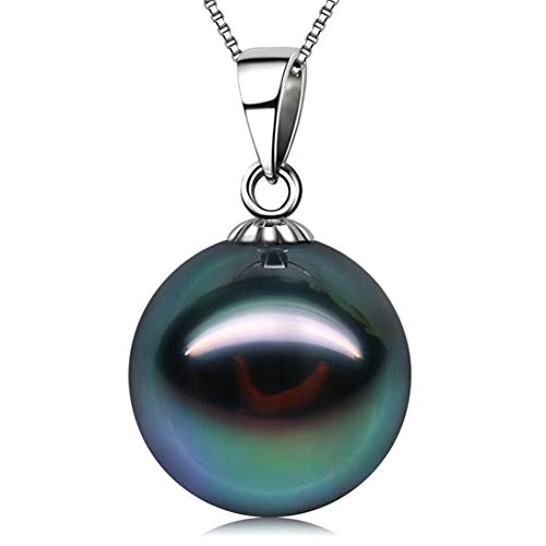 18K Gold 10-11mm Genuine Black Tahitian South Sea Cultured Pearl Infinity Pendant Necklace for Women with 18