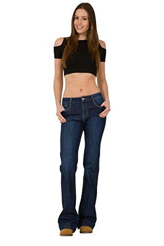 Jean Flare H Cindy Stretch Bleu Indigo Bootcut mi Taille g65xEwq