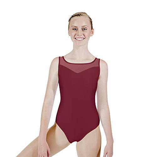 - HDW DANCE Women Ballet Dance Leotard Sweetheart Mesh Neck Sleeveless Cotton Bodysuit (Small, Burgundy)