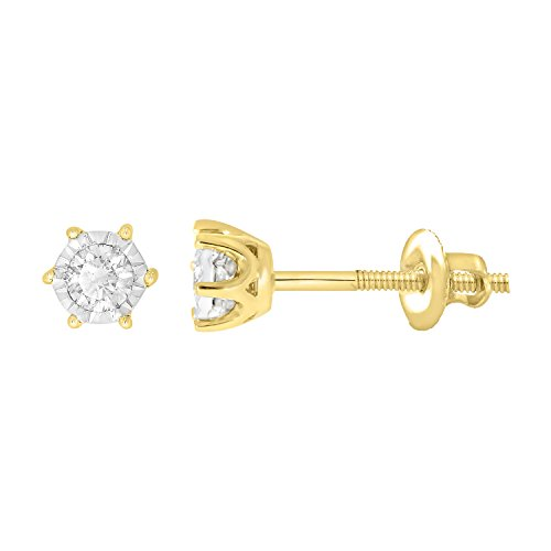 1/4 cttw Round-Cut Diamond with Miracle plate Unisex Stud Earrings crafted in 14k Gold (yellow-gold) by eSparkle