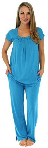 PajamaMania Women's Sleepwear Stretchy Knit Short Sleeve Oversized Top and Pants Pajama Set, Hawaiian Blue (PMR1910-2018-XL) ()