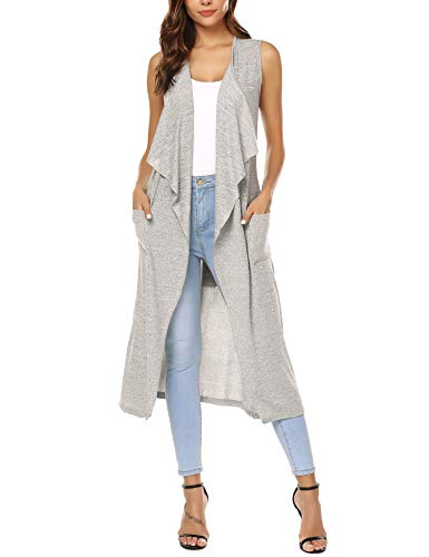 - URRU Women's Long Open Front Cardigan Vest with Pockets and Belt Grey XL