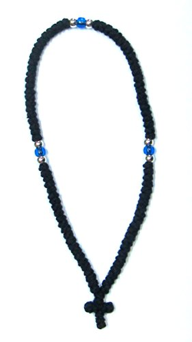 Handmade Blessed Christian Orthodox Komboskoini Prayer Rope 100 Knots Wool Pentant Black 1 ()