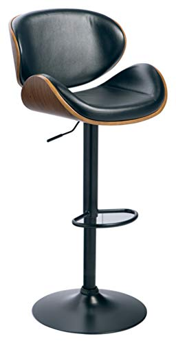 Signature Design By Ashley - Bellatier Tall Upholstered Swivel Barstool - Contemporary Style - Black/Brown (Arms Stools Bar Rattan Swivel)
