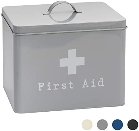 Harbour Housewares Industrial First Aid Box – Vintage Style 2-Tier Steel Medicine Storage Organiser – Grey