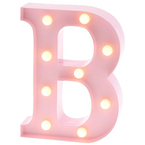 Barnyard Designs Metal Marquee Letter B Light Up Wall Initial Nursery Letter, Home and Event Decoration 9