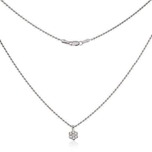 Gioiello Italiano Collier en or blanc 18 carats avec diamants 0,02 carat