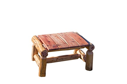 - Rustic Outdoor Red Cedar Log Ottoman/Foot Stool- Amish Made in The USA