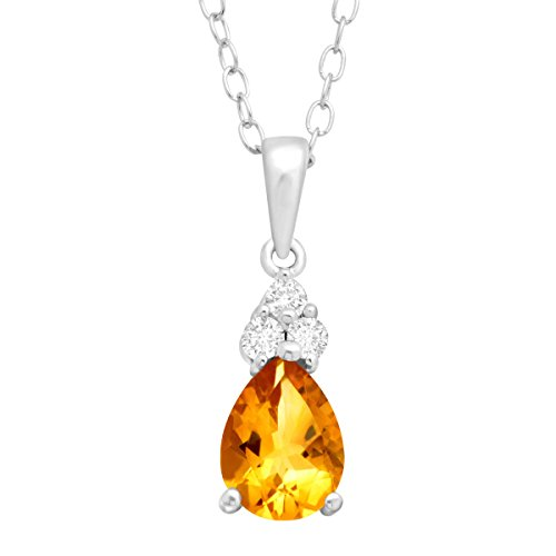 Citrine Topaz Necklace (1 ct Natural Citrine & White Topaz Pendant Necklace in Sterling Silver)